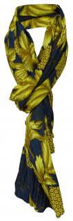 gecrashter Schal in gelb braun blau mit Blättermotiven - Tuch Gr. 180 x 100 cm