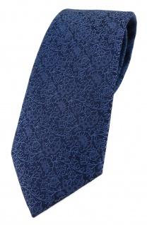 TigerTie Designer Krawatte in blau marine dunkelblau florales Muster