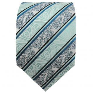 TigerTie Seidenkrawatte mint grün schwarz silber gestreift - Krawatte Seide - Vorschau 2