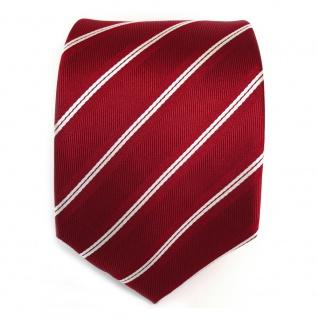 TigerTie Designer Seidenkrawatte rot signalrot weiss silber gestreift - Krawatte - Vorschau 2