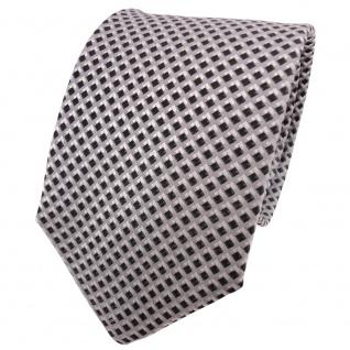 TigerTie Designer Seidenkrawatte anthrazit grau silber kariert