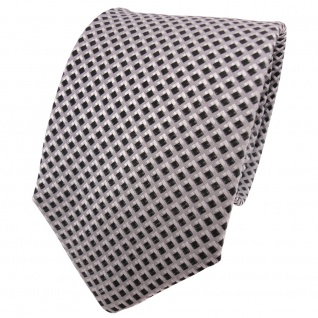 TigerTie Seidenkrawatte anthrazit grau silber kariert - Krawatte Seide Binder