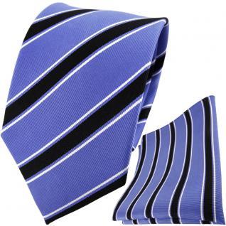 TigerTie Seidenkrawatte + Seideneinstecktuch in blau schwarz weiß gestreift