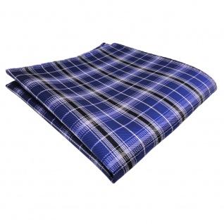 schönes Einstecktuch blau kobaltblau silber schwarz gestreift - Tuch Polyester