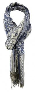 TigerTie Schal in blau grau silber gemustert mit Fransen