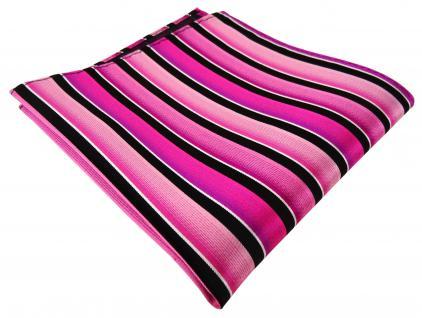 TigerTie Designer Seideneinstecktuch magenta rosa pink schwarz silber gestreift