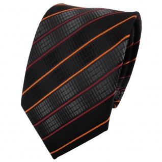 TigerTie Designer Krawatte in schwarz anthrazit orange gestreift - Binder Tie