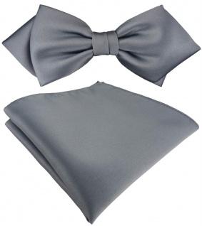 vorgebundene TigerTie Spitzfliege + Einstecktuch in silber Uni einfarbig + Box