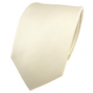 TigerTie Designer Krawatte elfenbein champagner hellbeige Uni Rips - Binder Tie