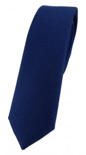 Modische schmale TigerTie Designer Krawatte in dunkelblau fein gepunktet
