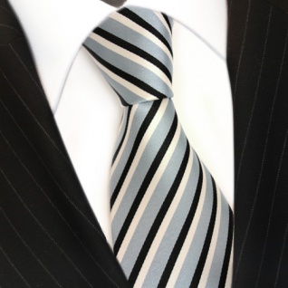 Designer Krawatte - Schlips Binder blau graublau schwarz weiss gestreift - Tie - Vorschau 3