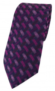 TigerTie Designer Krawatte in bordeauxviolett rosa schwarz - Motiv Flechtmuster