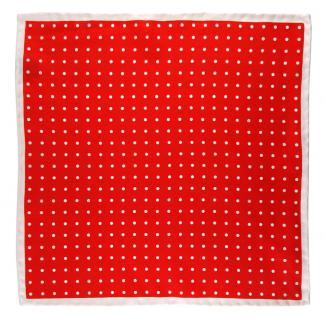 TigerTie Seideneinstecktuch in rot silberweiss gepunktet - handrolliert