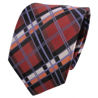 TigerTie Designer Seidenkrawatte braun kupfer schwarz silber kariert - Krawatte