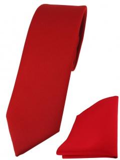 schmale TigerTie Designer Krawatte + Einstecktuch in rot einfarbig uni