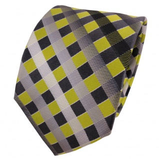 TigerTie Seidenkrawatte grün grau silber anthrazit kariert - Krawatte Seide Silk