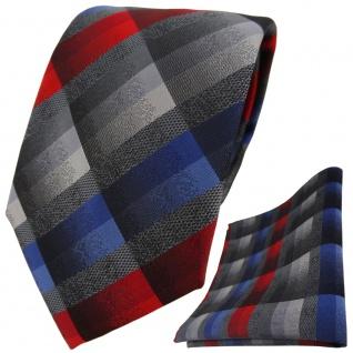 TigerTie Krawatte + Einstecktuch in rot anthrazit blau silber grau kariert