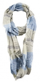TigerTie Loop Schal in blau grau beige weissgrau anthrazit - Gr. 170 cm x 50 cm