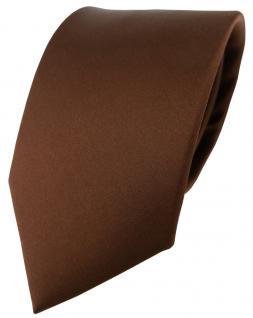 Designer Satin Krawatte braun Uni - 100 % Seide