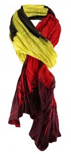 Schal gecrinkelt in gelb oliv rot bordeaux gemustert - Schal Gr. 190 x 100 cm