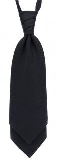TigerTie Plastron Pique 2tlg Krawatte + Einstecktuch in schwarz uni gemustert - Vorschau 2