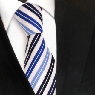 Designer Krawatte blau hellblau dunkelblau weiss gestreift - Krawatte Tie Binder