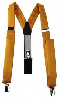 schmaler TigerTie Unisex Hosenträger mit 3 extra starken Clips - gelborange Uni