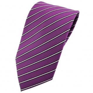 TigerTie Krawatte lila silber schwarz gestreift - Tie Binder