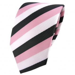 TigerTie Designer Satin Krawatte rosa altrosa weiß anthrazit gestreift - Binder