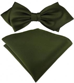 vorgebundene TigerTie Spitzfliege + Einstecktuch in olivegrün einfarbig + Box