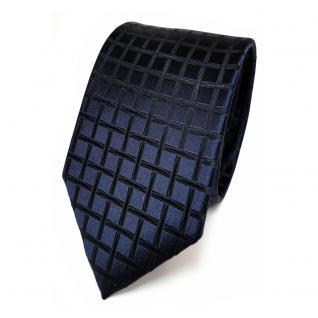 Schmale TigerTie Seidenkrawatte blau dunkelblau schwarzblau kariert - Krawatte