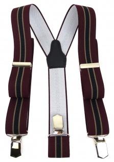 TigerTie Unisex Hosenträger mit 3 extra starken Clips - weinrot schwarz braun