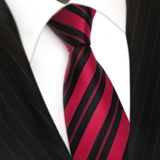 Designer Seidenkrawatte rot signalrot schwarz gestreift Krawatte Seide Tie - Vorschau 3