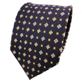 TigerTie Designer Seidenkrawatte blau gold silber gemustert - Krawatte Seide