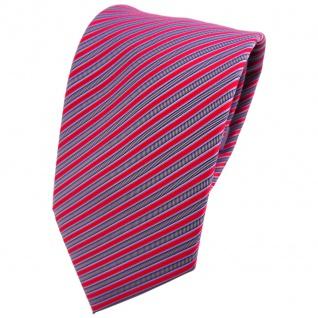 TigerTie Krawatte rot verkehrsrot silber grau gestreift - Tie Binder