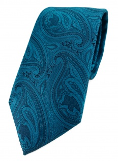 TigerTie Designer Krawatte in petrol schwarz Paisley gemustert