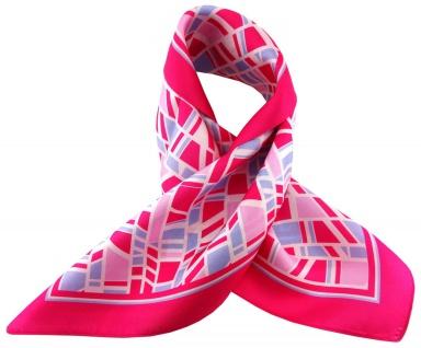 TigerTie Seiden Nickituch Satin in pink blau rosa weiss gemustert - 100% Seide