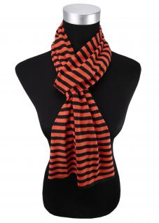 Damen Schal in orange schwarz gestreift Gr. 172 cm x 27 cm - Halstuch Tuch