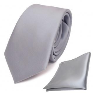 schmale TigerTie Schlips Krawatte + Einstecktuch grau hellgrau uni Binder