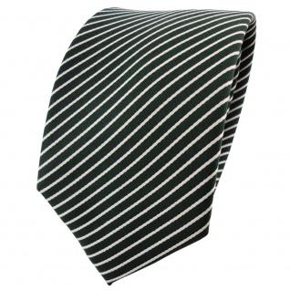 Designer Satin Seidenkrawatte grün dunkelgrün silber gestreift - Krawatte Seide
