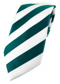 TigerTie Designer Krawatte in petrol weiss gestreift