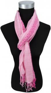 Schal in pink rosa grau kariert mit kleinen Fransen - Gr. 180 x 50 cm