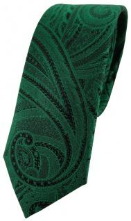 schmale TigerTie Seidenkrawatte in grün smaragdgrün schwarz Paisley gemustert