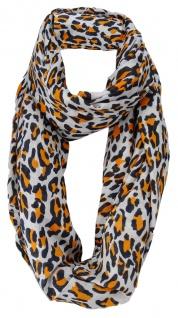 Damen Loop Schal in orange schwarz grau - Leopardenmuster - Gr. 160 x 110 cm