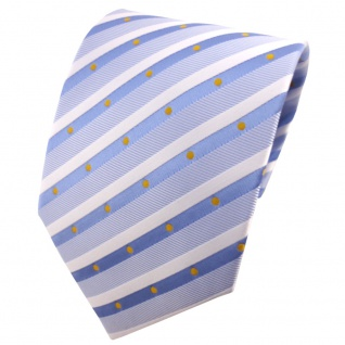 TigerTie Designer Krawatte blau hellblau silberweiß gelb gestreift - Binder