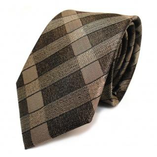 TigerTie Seidenkrawatte graubraun grau braun kariert - Krawatte 100 % Seide