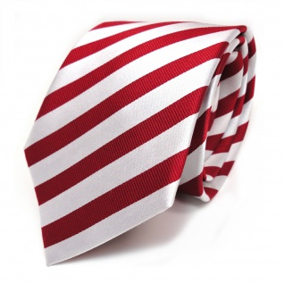Seidenkrawatte rot verkehrsrot weiss silber gestreift - Tie Krawatte 100% Seide
