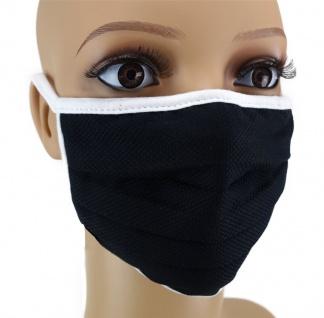 TigerTie Gesichtsmaske mit Nasenbügel Pique schwarz gemustert mit Schnürbändchen