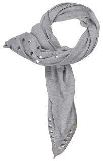 Dreieckstuch in grau hellgrau mit Nieten besetzt - Gr. 170 x 75 cm