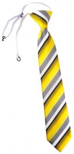 TigerTie Kinderkrawatte in gelb grau weiss schwarz gestreift - mit Gummizug